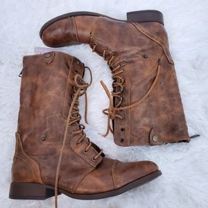 American Eagle sweater lined combat boots size 10